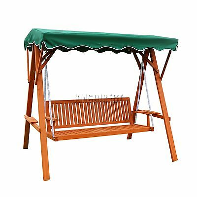 FoxHunter SCW01 Garden Wood Swing Hammock 3 Seater Chair Bench Furniture Green