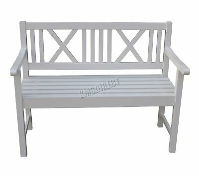 WestWood Outdoor Home 2 Seat Seater Garden Bench Fir wood Patio Park OB01 White