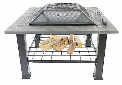 FoxHunter Garden Steel Fire Pit Firepit Brazier Square With Table Top FP-05 BBQ