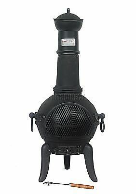 FoxHunter Black Cast Iron Steel Chimenea Chiminea Chimnea Heater Fire Pit LF128