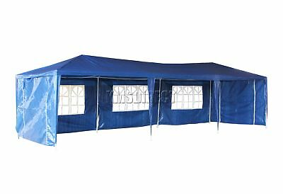 Waterproof Blue 3m x 9m Outdoor Garden Gazebo Party Tent Marquee Awning Canopy