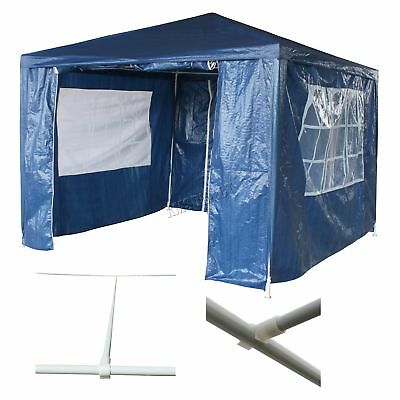 Waterproof Blue 3m x 3m Outdoor Garden Gazebo Party Tent Marquee Awning Canopy
