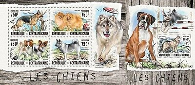 Z08 IMPERFORATED CA16402ab CENTRAL AFRICAN REPUBLIC 2016 Dogs MNH Set