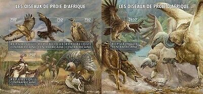 Z08 IMPERFORATED CA15616ab CENTRAL AFRICA 2015 Birds of prey MNH Set