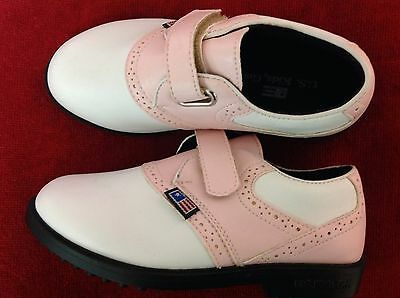 U.S. Kids Golf Brand Spikeless Pink/White Saddles Golf Shoes for Kids Size 12K