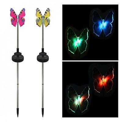 Pack of 2 Solar Fiber Optic Color-Changing Butterfly Garden Stake Light Decor