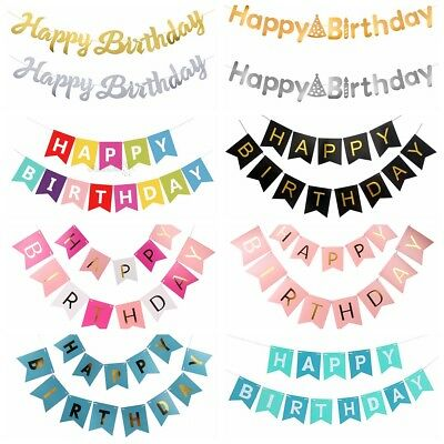 Gold Letter Happy Birthday Bunting Garland Party Hanging Paper Banner Decoration