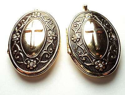 2 Pcs- Gold Plated  Ornate With Cross Oval Lockets -Gpov2