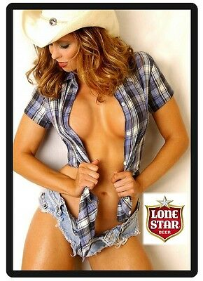 Lonestar Beer Sexy Cowgirl Model In Blue Shorts Refrigerator Toolbox Magnet