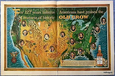 1962 Old Crow Whiskey 19th Century America Famous Great Men Walt Whitman ad