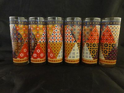 Vintage Federal Glass Set Of 6 Tall Tumblers Glasses