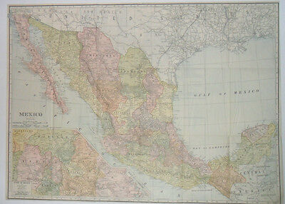 Large Antique 26x19 Rand McNally Map of Mexico 1909 Valley & Mexico City Inserts