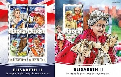 Z08 IMPERFORATED DJB16204ab DJIBOUTI 2016 Queen Elizabeth II MNH Set