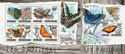 Z08 IMPERFORATED CA16401ab CENTRAL AFRICAN REPUBLIC 2016 Butterflies MNH Set