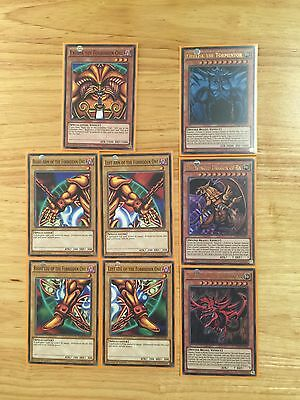 3 God Cards Tournament Legal Limited Ed & 5 Pieces Of Exodia 1St Ed Mint