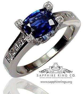 GIA Certified 18 kt W/Gold 1.80 tcw Blue Cushion Natural Sapphire & Diamond Ring