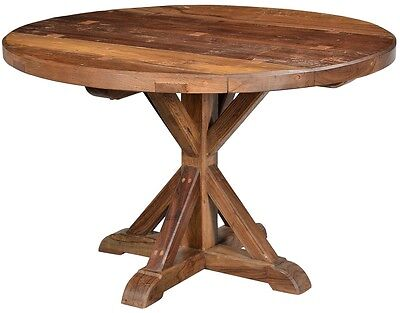 """47"""" Long Stan Round Table Solid Wood Handmade Natural Wood Tones"""