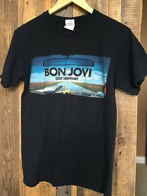 """Bon Jovi Black Lost Highway """"Live and In Your Face"""" Concert T-Shirt Size Small S"""