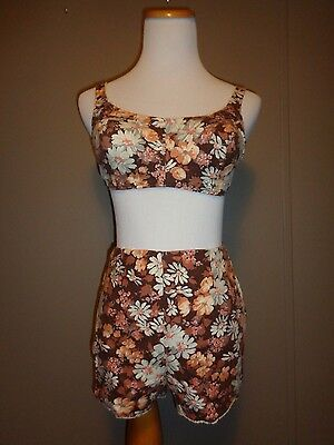 Vintage 60's Bombshell Swimsuit Brown Daisies Pin Up Girl Size M/L Cup B