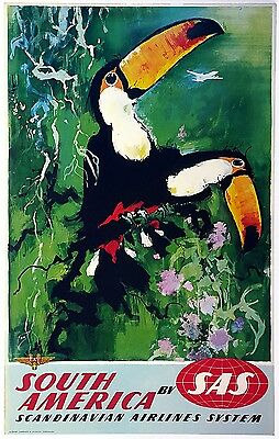 ON LINEN- ORIGINAL Vintage Airline Travel Poster SAS South America AMAZON TOUCAN