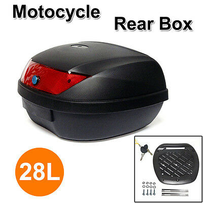 28L Universal Motorcycle Scooter Top Tail Box Rear Storage Luggage PP Plastic