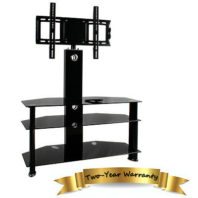 "Glass TV Stand with Mount Bracket LCD LED Plasma 32""-60"" inch Cantilever Black"
