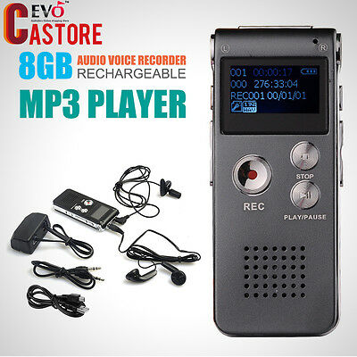 IronGray Audio Voice Recorder Rechargeable Dictaphone Telephone MP3 Player