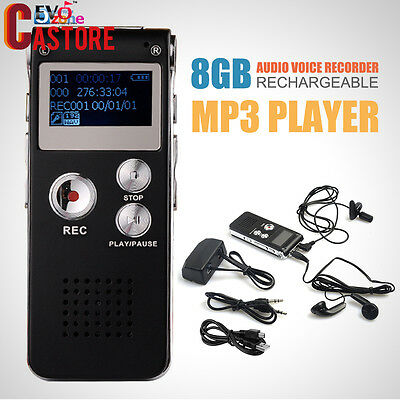 Black 8GB Audio Voice Recorder Rechargeable Dictaphone Telephone MP3 Player
