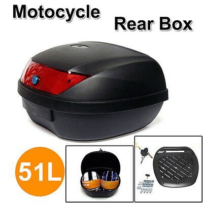 Large 51L Motorcycle Scooter Topbox Rear Storage Luggage Top Tail Box AU Stock