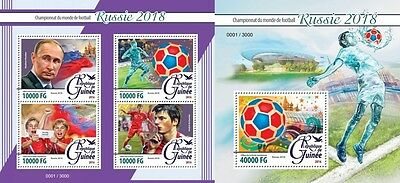 Z08 IMPERFORATED gu16221ab GUINEA (Guinée) 2016 Football - Russia 2018 MNH Set