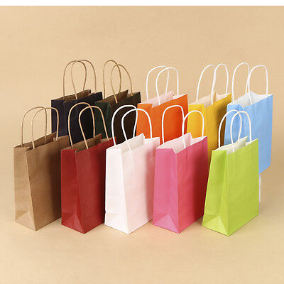 50Pcs Luxury Kraft Paper Party Bags Gift Bag With Handles Recyclable Loot Bag