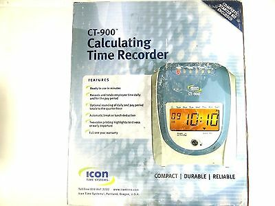 Icon time systems CT-900 Calculating Time Recorder w/ operational battery backup