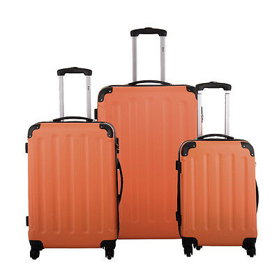 BHC 3PCS Luggage Orange Carry On Set Trolley Suitcase Travel Spinner ABS+PC