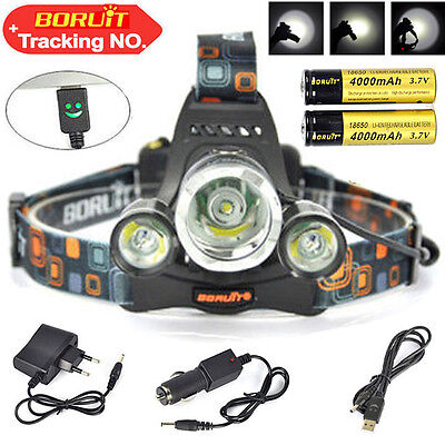 BORUiT 30W 13000Lm 3*XM-L T6 LED Lampe frontale Chasse Headlight Torch 18650 cha