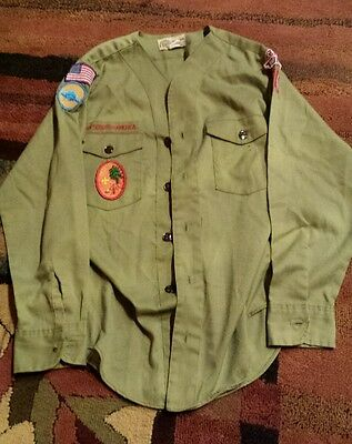 Vintage 70's Official  Boy Scout Uniform Collarless Long sleeve Shirt & Patches