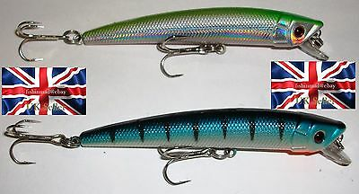 2 x 10g 90mm #4 RATTLING FLOATING SHALLOW DIVING BASS PIKE FISHING LURES