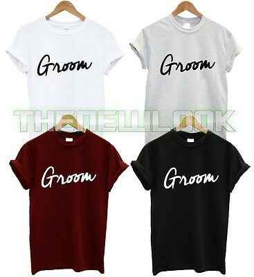 Groom T Shirt Wedding Marriage Wifey Hubby Engaged Hen Party Fashion Tumblr New