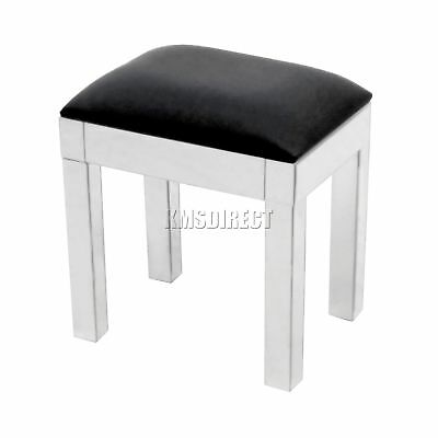FoxHunter Mirrored Furniture Glass Dressing Table Stool Black Faux Leather MS01