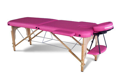 Pink Portable Massage Table Bed Beauty Therapy Couch 2 Section Wood + Cover Bag