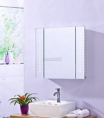 1 Door LED Illuminated Mirror Bathroom Cabinet Storage Cupboard Sensor MC17