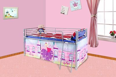 FoxHunter Childrens Metal Mid Sleeper Cabin Bunk Bed Kids Tent Single 3FT Fairy