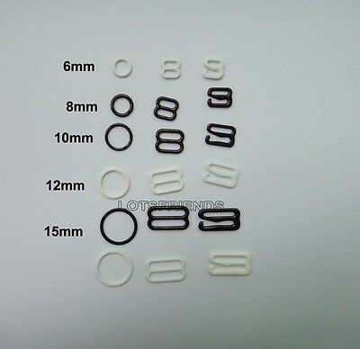 500 sets Coated Metal Bra strap Adjustment Slide 8 Rings O Figure 6-25mm Pick