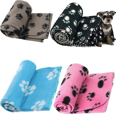 SMALL SOFT FLEECE PAW PRINT PET CAR BLANKET DOG PUPPY CAT BED 70 x 73 cm