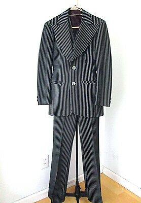 Vtg 70s Black Pinstripe Disco Pimp Gangster Superfly 3-Pc Suit HUGE FLARE 36