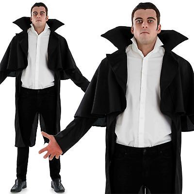 Adult Black Vampire Coat Mens Count Dracula Fancy Dress Cloak Cape with Tails