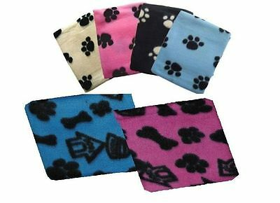 MULTI PACK SMALL SOFT FLEECE PAW PRINT PET  BLANKET DOG PUPPY CAT BED 70 x 73 cm