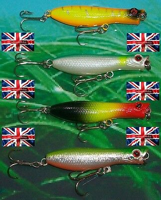 4 x #6 6g 60mm AMERICAN RATTLING FLOATING SURFACE SKIMMER POPPER LURES BASS PIKE
