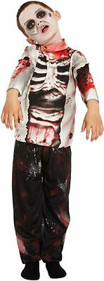 Halloween Zombie Boy Costume Kids Scary Dead Bloody Skeleton Fancy Dress Outfit
