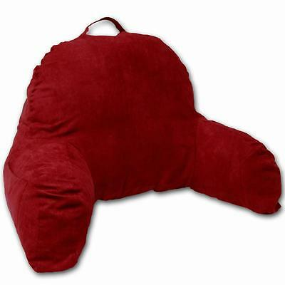 Microsuede Bedrest Pillow Red -Bed Rest Pillows W/Arms for Reading in Bed