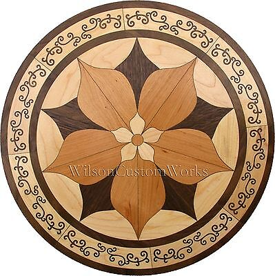"18"" Wood Floor Medallion Inlay 92 Piece Ornate Flower kit DIY Flooring Table Box"